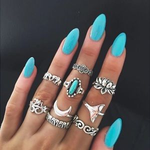 Nine piece BoHo ring set